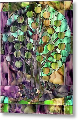 Stained Glass Apple Tree Metal Print by Mindy Sommers