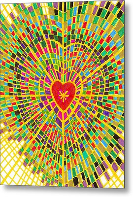 Stained Glass Heart Metal Print by Brenda Adams