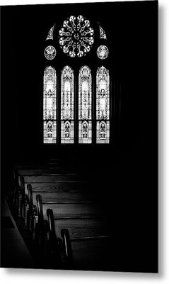 Stained Glass In Black And White Metal Print
