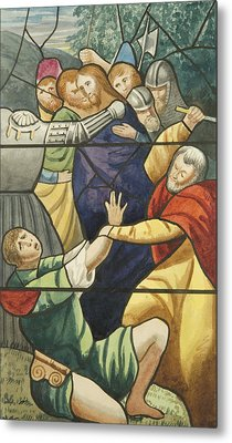 Stained Glass In St Mark's  The Taking Of Christ  Metal Print by Joseph Manning