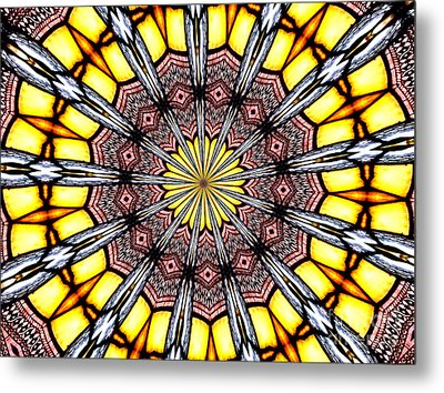 Metal Print featuring the photograph Stained Glass Kaleidoscope 23 by Rose Santuci-Sofranko