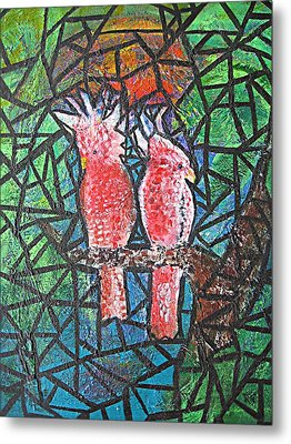 Stained Glass Parrots Metal Print