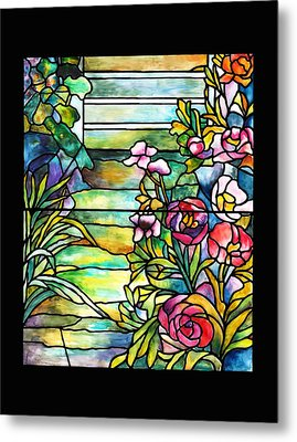 Stained Glass Tiffany Robert Mellon House Metal Print by Donna Walsh