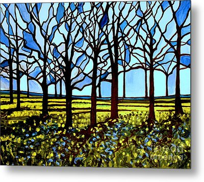 Stained Glass Trees Metal Print