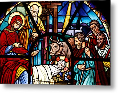 Stained Glass Window Depicting The Nativity Metal Print