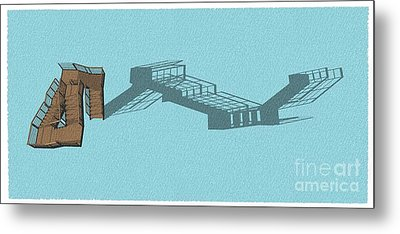 Stair 44 Long Shadow Architect Architecture Metal Print
