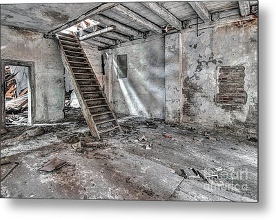 Metal Print featuring the photograph Stair In Old Abandoned  Building by Michal Boubin