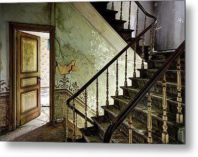 Stairs In Abandoned Castle - Urban Decay Metal Print