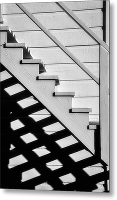 Stairs In Black And White Metal Print by Garry Gay