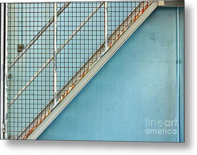 Metal Print featuring the photograph Stairs On Blue Wall by Stephen Mitchell