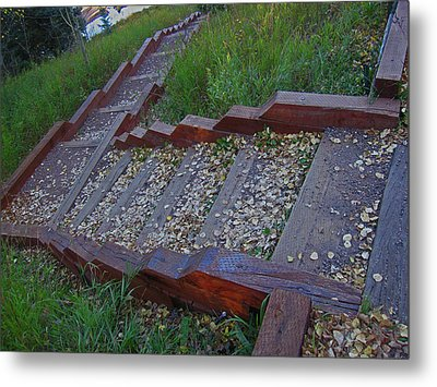 Metal Print featuring the photograph Stairs To Lake by Tammy Sutherland
