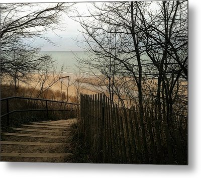 Metal Print featuring the photograph Stairs To The Beach In Winter by Michelle Calkins