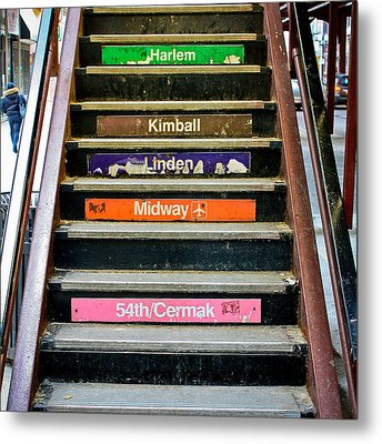 Stairs To The Chicago L Metal Print by Anthony Doudt