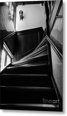 Metal Print featuring the photograph Stairway In Amsterdam Bw by RicardMN Photography
