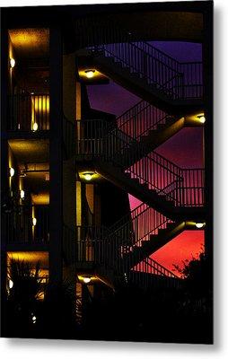 Stairway Silhouette At Sunset Metal Print