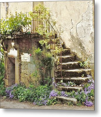 Stairway With Flowers Flavigny France Metal Print by Marilyn Dunlap