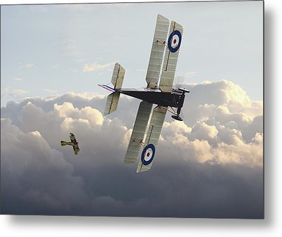 Metal Print featuring the digital art Stalked - Se5 And Albatros Dlll by Pat Speirs