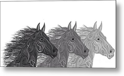 Metal Print featuring the drawing Stallions Shades by Nick Gustafson