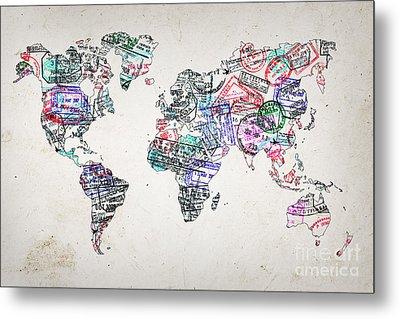 Stamp Art World Map Metal Print
