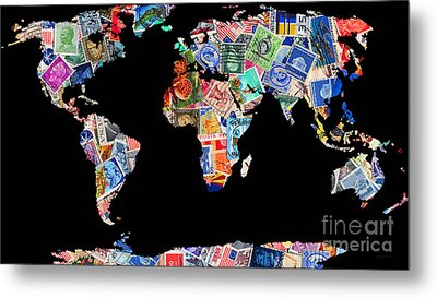 Stamps Of The World Map . V1 Metal Print by Wingsdomain Art and Photography