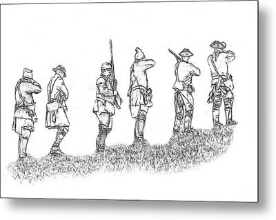 Stand Fast Soldier Sketch Metal Print by Randy Steele