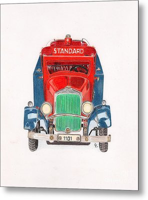 Standard Oil Tanker Metal Print by Glenda Zuckerman