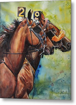 Standardbred Trotter Pacer Painting Metal Print by Maria's Watercolor