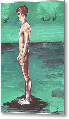 Standig On A Cold Beach With Hesitation  Metal Print by Rene Capone