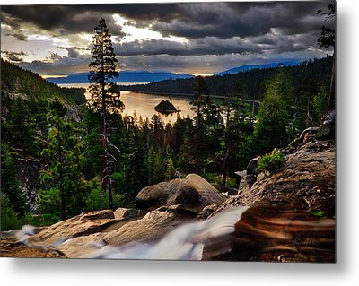 Standing At Eagle Falls Metal Print by Renee Sullivan