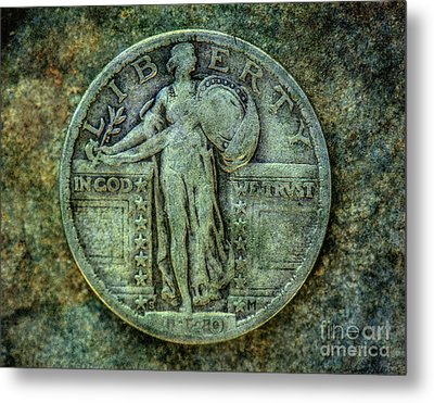 Metal Print featuring the digital art Standing Libery Quarter Obverse by Randy Steele