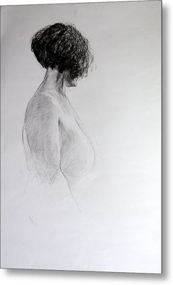 Metal Print featuring the drawing Standing Nude by Harry Robertson