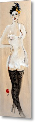 Standing Nude In Black Stockings With Flower And Bird In Hair Metal Print