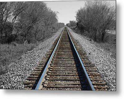 Standing On The Tracks Metal Print by Robyn Stacey