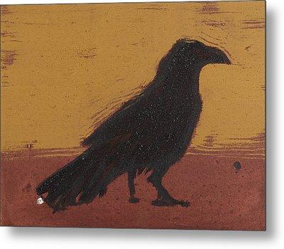 Standing Raven 2 Metal Print by Sophy White
