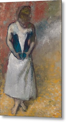 Standing Woman Seen From The Front, Clasping Her Corset Metal Print