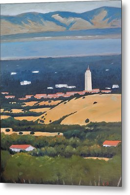 Metal Print featuring the painting Stanford From Hills by Gary Coleman