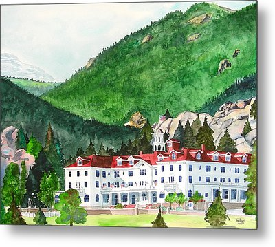 Metal Print featuring the painting Stanley Hotel by Tom Riggs