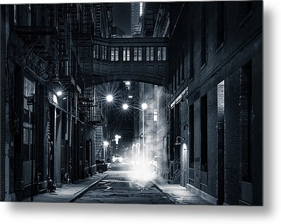 Staple Street Skybridge By Night Metal Print by Mihai Andritoiu