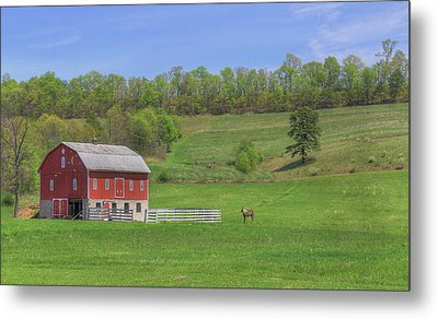 Metal Print featuring the digital art Star And Moon Barn by Sharon Batdorf