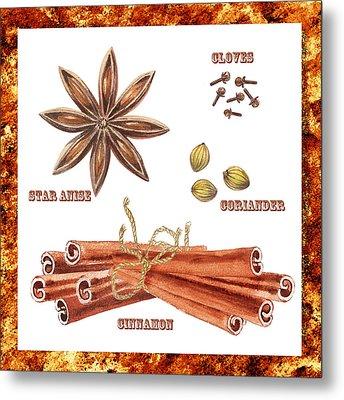 Star Anise Cloves Coriander Cinnamon Metal Print by Irina Sztukowski
