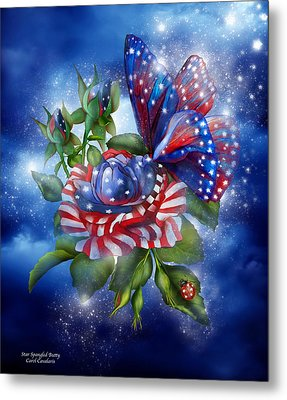 Star Spangled Butterfly Metal Print by Carol Cavalaris