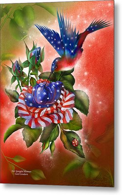 Star Spangled Hummer Metal Print by Carol Cavalaris