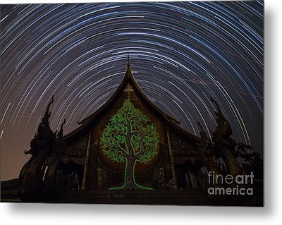 Star Trails In The Night At Temple Metal Print by Tosporn Preede