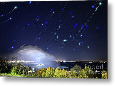 Metal Print featuring the photograph Star Trails Over Niagara River by Charline Xia