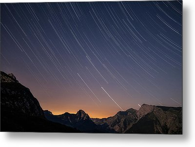 Star Trails Over The Apuan Alps Metal Print