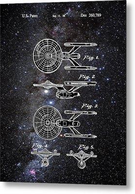 Star Trek Enterprise Patent Space Metal Print by Bill Cannon