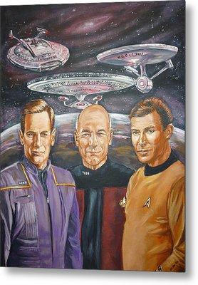 Star Trek Tribute Enterprise Captains Metal Print by Bryan Bustard