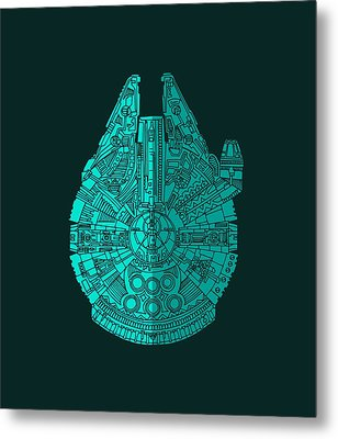 Star Wars Art - Millennium Falcon - Blue 02 Metal Print