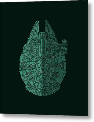 Star Wars Art - Millennium Falcon - Blue Green Metal Print