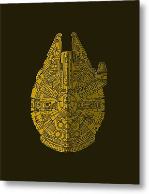 Star Wars Art - Millennium Falcon - Brown Metal Print